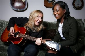 "In this April 12, 2016 photo, singers Melissa Etheridge, left, and Priscilla Renea pose for a portrait in Hidden Hills, Calif. The pair are set to perform and share stories about their experiences in the music industry at the ASCAP ""I Create Music"" songwriting expo in Los Angeles on April 28. The three-day conference also promises appearances by Timbaland, Pat Benetar, singer Andra Day and Matchbox Twenty front man Rob Thomas. (Photo by Rich Fury/Invision/AP)"