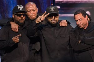 Inductees MC Ren, from left, Dr. Dre, Ice Cube and DJ Yella from N.W.A appear at the 31st Annual Rock and Roll Hall of Fame Induction Ceremony at the Barclays Center on Friday, April 8, 2016, in New York. (Photo by Charles Sykes/Invision/AP)