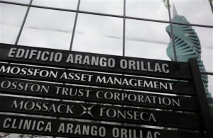 A marquee of the Arango Orillac Building lists the Mossack Fonseca law firm in Panama City, Thursday, April 7, 2016. Earlier on Wednesday the Panamanian based law firm filed a complaint with Panamanian prosecutors, alleging that the 11.5 million documents revealed in the leak were stolen by a hacking attack from somewhere in Europe. (AP Photo/Arnulfo Franco)
