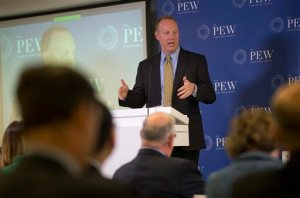 In this photo taken April 11, 2016, Medicare Chief Medical Officer Patrick Conway speaks at the Pew Charitable Trust in Washington. In a sprawling, nondescript office park near Baltimore, some 360 people at the Center for Medicare & Medicaid Innovation are trying to change the health care system, using the government's premier insurance program as leverage. If they prevail, the U.S. may no longer have the worst of both worlds: unsustainable spending and unenviable results. (AP Photo/Pablo Martinez Monsivais)