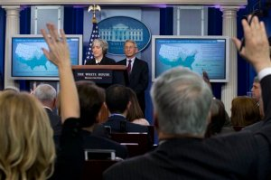 Dr. Anne Schuchat, principal deputy director of the Center for Disease Control, left, and Dr. Anthony Fauci, Director of NIH/NIAID, answers questions about the Zika virus during a news briefing at the White House in Washington, Monday, April 11, 2016.  (AP Photo/Jacquelyn Martin)