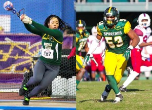 Norfolk State seniors Kiara Howell and Deon King were named the University's Female Athlete and Male Athlete of the Year, respectively, as the athletics department's annual all-sports awards ceremony on Monday evening at the NSU Student Center. Photo from NSUSpartans.com.