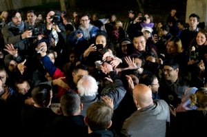 Democratic presidential candidate, Sen. Bernie Sanders, I-Vt., greets members of the audience during a campaign rally at Washington Square, Wednesday, April 13, 2016 in New York. (AP Photo/Mary Altaffer)