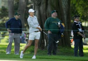Lee-Anne Pace, of South Africa, follows her shot from the first fairway of the Lake Merced Golf Club during the third round of the Swinging Skirts LPGA Classic golf tournament Saturday, April 23, 2016, in Daly City, Calif. (AP Photo/Eric Risberg)