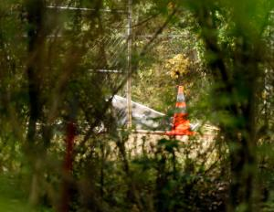 A section of an aircraft is visible through the brush along Colonial Estates Road, near the Tupelo Regional Airport in Tupelo, Miss., Monday morning, May 16, 2016, following an airplane crash. The pilot and three passengers all died when the single-engine plane crashed in a field adjoining the Tupelo Buffalo Park & Zoo. (Thomas Wells/The Northeast Mississippi Daily Journal via AP) MANDATORY CREDIT