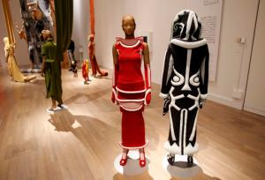 Pieces of designer Issey Miyake's collection are displayed at the National Art Center in Tokyo, Japan, Tuesday, May 31, 2016. Although he's behind one of the biggest fashion brands to come out of Japan, Issey Miyake detests being called a fashion designer. Maybe a designer, even a sculptor, but not of that frivolous, trend-watching, conspicuous consumption known as fashion. What he has pursued since he started in the 1970s is more timeless. His down-to-earth clothing is meant to celebrate the human body. And it's anyone's or everyone's body _ any race, build, size or age. (AP Photo/Shizuo Kambayashi)