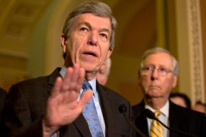 Sen. Roy Blunt, R-Mo., left, accompanied by Senate Majority Leader Mitch McConnell of Ky., speaks about Zika funding during a news conference on Capitol Hill in Washington,  Tuesday, May 17, 2016. (AP Photo/Jacquelyn Martin)