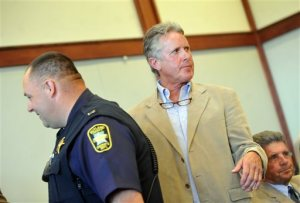 Craig Mosher appears in court on Monday, June 6, 2016, in Rutland, Vt. Mosher, whose loose bull wandered onto a road and was hit by a car, killing the driver, is facing an involuntary manslaughter charge, prosecutor said, and farmers are worried about the harm a conviction could do to the state's agriculture economy. (Anthony Edwards/The Rutland Herald via AP) MANDATORY CREDIT