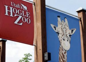 The front entrance of the Utah's Hogle Zoo is shown Tuesday, June 7, 2016, in Salt Lake City.  Zoo officials say a rare Amur leopard is safe after it escaped from its enclosure and was tranquilized by staff. Hogle Zoo spokeswoman Erica Hansen says the 4-year-old female leopard was found Tuesday morning by zoo visitors after it escaped.   (AP Photo/Rick Bowmer)