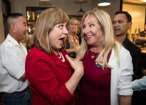 U.S. Congresswoman Loretta Sanchez greets her supporters at Anaheim Brewery as election results come in, in Anaheim, Calif., on Tuesday, June 7, 2016. California U.S. Senate candidate Kamala Harris claimed one of two spots in the November runoff Tuesday, moving the state attorney general into a potentially historic election. Harris was trailed by fellow Democrat Sanchez, a 10-term congresswoman from Orange County, who was holding steady in second place. (Ed Crisostomo/The Orange County Register via AP) MAGS OUT; LOS ANGELES TIMES OUT; MANDATORY CREDIT