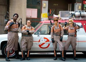"""FILE - In this image released by Sony Pictures, from left, Leslie Jones, Melissa McCarthy, Kristen Wiig and Kate McKinnon from the film, """"Ghostbusters,"""" opening nationwide on July 15. (Hopper Stone/Columbia Pictures, Sony via AP)"""