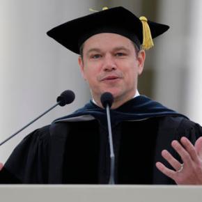 Matt Damon tells MIT graduates to face the world'sproblems