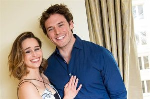 "In this May 21, 2016 photo, actors Emilia Clarke, left, and Sam Claflin pose for a portrait to promote their film, ""Me Before You"" in New York. (Photo by Charles Sykes/Invision/AP)"