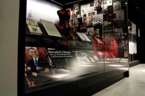 In this photo taken July 18, 2016, an exhibit depicting the presidency and the life of President Barack Obama and his family is seen during a media preview tour at the Smithsonian National Museum of African American History and Culture in Washington. The museum's grand opening will be on Sept. 24. (AP Photo/Paul Holston)