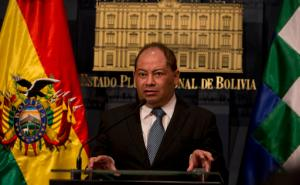 """Bolivia's Government Minister Carlos Romero speaks during a press conference at the government palace in La Paz, Bolivia, Thursday, Aug. 25, 2016. Striking informal miners in Bolivia kidnapped and beat to death the country's deputy government minister after he traveled to the area to mediate in the bitter conflict over mining laws, officials said late Thursday. Romero called it a """"cowardly and brutal killing"""" and asked that the miners turn over the body of deputy minister Rodolfo Illanes. (AP Photo/Juan Karita)"""