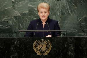 Lithuania's President Dalia Grybauskaite addresses the 71st session of the United Nations General Assembly, at U.N. headquarters, Thursday, Sept. 22, 2016. (AP Photo/Richard Drew)