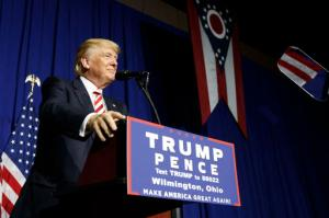 Republican presidential candidate Donald Trump pauses while speaking during a campaign rally, Thursday, Sept. 1, 2016, in Wilmington, Ohio. (AP Photo/Evan Vucci)