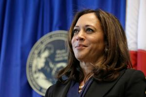 In this photo taken June 28, 2016, California Attorney General Kamala Harris listens to questions during a news conference in San Francisco. California's U.S. Senate candidates pick up dueling endorsements that point to key battlefronts in the race between the fellow Democrats. Harris is backed by state Senate leader Kevin De Leon, a blow to Loretta Sanchez who has been trying to lock up Latino support, while Sanchez wins the backing of former Republican congressman Buck McKeon as she tries to lure GOP voters who have no candidate of their own her way. (AP Photo/Eric Risberg)