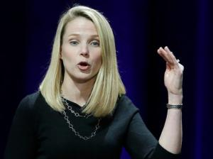 FILE - In this Feb. 19, 2015, file photo, Yahoo President and CEO Marissa Mayer delivers the keynote address at the first-ever Yahoo Mobile Developer's Conference, in San Francisco. Mayer stands to collect a $44 million severance package if she leaves after Verizon completes its purchase of the once-mighty internet company. Mayer hasn't announced plans to leave, but industry observers say she's unlikely to stay after the $4.8 billion sale closes early next year.(AP Photo/Eric Risberg, File)