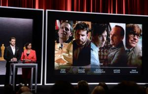 FILE - In this Thursday, Jan. 15, 2015 file photo, Chris Pine, left, and Academy President Cheryl Boone Isaacs announce the Academy Awards nominees for best actor in a leading role at the 87th Academy Awards nomination ceremony in Beverly Hills, Calif. A report to be released Wednesday, Sept. 7, 2016 by the Media, Diversity and Social Change Initiative at the University of Southern California's Annenberg School for Communication and Journalism finds little evidence of Hollywood improving in the diversity of its movie characters or directors. (Photo by Dan Steinberg/Invision/AP, File)