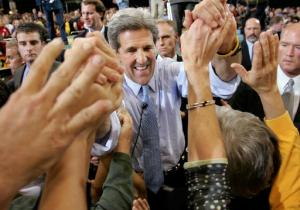 ADVANCE FOR MONDAY, SEPT. 5 AND THEREAFTER - FILE - In this Oct. 27, 2004 file photo, then-Democratic presidential candidate, Sen. John Kerry, D-Mass., shakes hands with the crowd moments after speaking at a campaign stop in Cedar Rapids, Iowa. Nine weeks out from Election Day, the electoral math favors Democrat Hillary Clinton. But both Clinton and GOP rival Donald Trump know there are countless ways the trajectory of this uncommonly volatile presidential campaign still could shift in unexpected ways.  (AP Photo/Steven Senne, File)