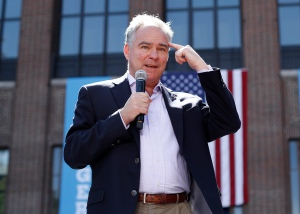 In this Sept. 13, 2016, photo, Democratic vice presidential candidate, Sen. Tim Kaine, D-Va. speaks during a campaign rally at the University of Michigan in Ann Arbor, Mich. Kaine tends to focus more on how he would help accomplish the goals of a Hillary Clinton administration than his own White House credentials should he unexpectedly be pushed into the nation's No. 1 job. Now that his running mate is in the midst of a health scare, though, Kaine is still downplaying the fact that, if elected, he'd be a heartbeat away from the presidency. (AP Photo/Paul Sancya)