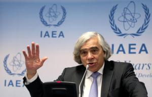 US Secretary of Energy Ernest Moniz addresses the media during the general conference of the International Atomic Energy Agency, IAEA, at the International Center in Vienna, Austria, Monday, Sept. 26, 2016. (AP Photo/Ronald Zak)