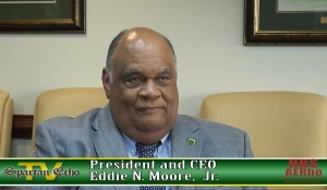 Norfolk State University President and CEO Eddie N. Moore, Jr. gave an exclusive interview to the Spartan Echo and the NSU chapter of the National Broadcasting Society on Thursday, Sept. 29, 2016 to discuss NSU's future and his optimism about facing upcoming challenges. (Photo from video by Spartan Echo and the National Broadcasting Society)