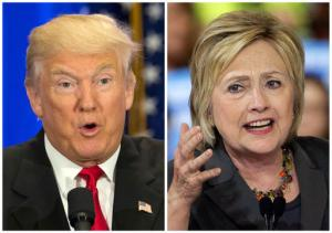 File-This file photo combo of file images shows U.S. presidential candidates Donald Trump, left, and Hillary Clinton. Trump wants to spur more job creation by reducing regulations and cutting taxes to encourage businesses to expand and hire more. He also says badly negotiated free trade agreements have cost millions of manufacturing jobs. He promises to bring those jobs back by renegotiating the NAFTA agreement with Canada and Mexico, withdrawing from a proposed Pacific trade pact with 11 other nations, and pushing China to let its currency float freely on international markets. Clinton has promised to spend $275 billion upgrading roads, tunnels and modern infrastructure such as broadband Internet, to create more construction and engineering jobs. Trump has said in interviews he would spend twice as much. (AP Photo/Mary Altaffer, Chuck Burton, File)