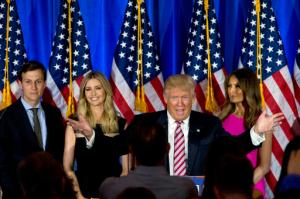 FILE - In this June 7, 2016 file photo, Republican presidential candidate Donald Trump, joined by his wife Melania, daughter Ivanka and son-in-law Jared Kushner, speaks during a news conference at the Trump National Golf Club Westchester in Briarcliff Manor, N.Y. Ushering Trump toward a more analytical approach is Jared Kushner, Trump's son-in-law and adviser, and Brad Parscale, the campaign's digital director and a veteran Trump Organization consultant. (AP Photo/Mary Altaffer, File)