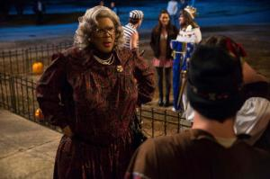 """In this image released by Lionsgate, Tyler Perry portrays Madea in a scene from, """"Tyler Perry's Boo! A Madea Halloween."""" (Daniel McFadden/Lionsgate via AP)"""