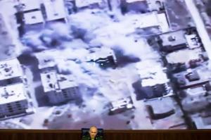 Lt. Gen. Sergei Rudskoi of the Russian military's General Staff speaks at a briefing at the Russian Defense Ministry's headquarters in Moscow, Russia, Thursday, Oct. 13, 2016. Rudskoi said that Russian warplanes in Syria haven't targeted populated areas and only struck militants's facilities near Aleppo. (AP Photo/Ivan Sekretarev)