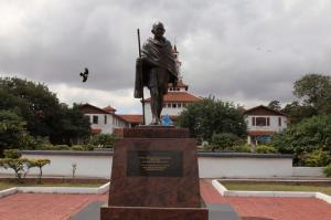 """FILE-In this Thursday, Sept. 22, 2016 file photo, a statue of Indian independence leader Mohandas Gandhi in Accra, Ghana,  Ghana has expressed its intention to remove a statue of Indian independence leader Mohandas Gandhi from a university in the capital, citing a controversy over what critics call his """"racist identity."""" (AP Photo/Christian Thompson, File)"""
