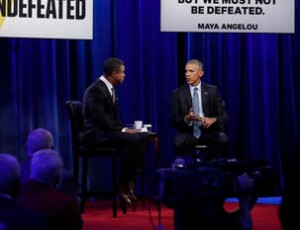 President Barack Obama speaks during taping of a student forum with Stan Verrett hosted by ESPN at North Carolina A&T State University in Greensboro, N.C., Tuesday, Oct. 11, 2016. (AP Photo/Carolyn Kaster)