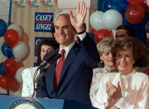 FILE – In this May 15, 1990, file photo, Pennsylvania Gov. Robert P. Casey waves as he celebrates winning the Democratic nomination for governor again during a primary night party in Scranton, Pa. A former judge's regret could lead to the early release of a drug kingpin whose case became well-known because of its connection to an organ transplant that saved Casey in 1993. (AP Photo, File)
