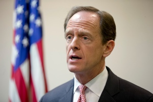 FILE - In this May 9, 2016, file photo, Sen. Pat Toomey, R-Pa., speaks during a news conference in Philadelphia. Democrats are sounding increasingly concerned about their chances of retaking control of the Senate, as Republicans demonstrate a commanding fundraising advantage and Hillary Clinton's lead narrows in key battleground races. (AP Photo/Matt Rourke, File)