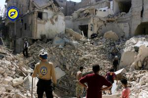 In this picture taken, Tuesday, Oct. 11, 2016, provided by the Syrian Civil Defense group known as the White Helmets, Syrian Civil Defense workers search through the rubble in rebel-held eastern Aleppo, Syria. Activists and rescue workers say an intensive day of bombing on besieged rebel-held parts of Aleppo has left at least 25 people dead, including five children. Rescue workers pulled at least one boy alive from under the rubble late Tuesday night. The Britain-based Syrian Observatory for Human Rights says Wednesday that Tuesday's bombings killed 25 people. The Syrian Civil Defense, a team of first responders, and activist media platform Aleppo Media Center put the death toll at 41. (Syrian Civil Defense- White Helmets via AP)
