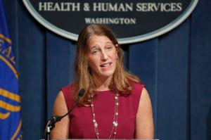 Health and Human Service (HHS) Secretary Sylvia Burwell speaks during a news conference at the HHS in Washington, Wednesday, Oct. 19, 2016. Facing new challenges to a legacy law, the Obama administration set its goals for the president's final health care sign-up season. Burwell said she expects 13.8 million people to sign up.  (AP Photo/Alex Brandon)