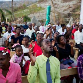 Haitians worship among devastation caused byhurricane