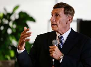 """In this photo taken Oct. 19, 2016 photo, Rep. John Mica, R-Fla. speaks to voters at an event in Maitland, Fla. Mica is seeking a 13th term in Congress from central Florida, but it's not an easy path. The veteran Republican tells supporters turnout is critical. And he's offers them this advice about his re-election contest: ``Don't let it get caught up in any of the other races or issues."""" That seems code for Donald Trump, whose presidential run carries mixed blessings in a tight district. More than Trump is threatening Mica's career. In a battle of old school versus new, Mica faces Democrat Stephanie Murphy, a 38-year-old political neophyte. (AP Photo/John Raoux)"""