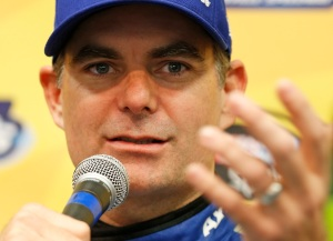 Jeff Gordon gestures during a NASCAR Sprint Cup Series news conference at the Martinsville Speedway in Martinsville, Va., Friday, Oct. 28, 2016. Gordon is the defending champion of last year's race Sprint Cup auto race at the track. (AP Photo/Steve Helber)