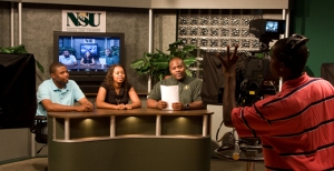 NSU Mass Communication and Journalism students prepare to start taping a television show. (Photo from Norfolk State University)
