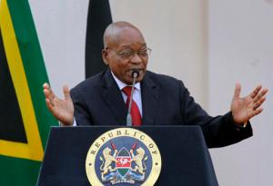 "FILE -- In this Oct. 11, 2016, file photo, South African President Jacob Zuma gives a press conference at State House in Nairobi, Kenya. The Nelson Mandela Foundation has sharply criticized Zuma saying ""political meddling for private interests"" during his tenure has weakened key state institutions and poses a threat to the country's democracy. (AP Photo/Khalil Senosi, File)"