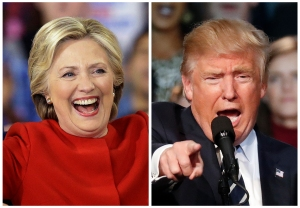 This combination of photos taken at late-night campaign rallies shortly after midnight on Tuesday, Nov. 8, 2016, shows Democratic presidential candidate Hillary Clinton in Raleigh, N.C., and Republican presidential candidate Donald Trump in Grand Rapids, Mich. A polarized America went to the polls Tuesday to pick its 45th president. (AP Photo/Gerry Broome, Paul Sancya)