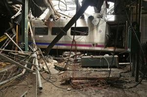 FILE – This Oct. 1, 2016, file photo provided by the National Transportation Safety Board shows damage from a Sept. 29, 2016, commuter train crash that killed a woman and injured more than 100 people at the Hoboken Terminal in Hoboken, N.J. Thomas Gallagher, the engineer of the commuter train that slammed into the station going double the 10 mph speed limit, suffered from sleep apnea that had gone undiagnosed, his lawyer told The Associated Press on Wednesday, Nov. 16, 2016. A U.S. official told the AP that investigators are looking at it as a potential cause. (Chris O'Neil/National Transportation Safety Board via AP, File)