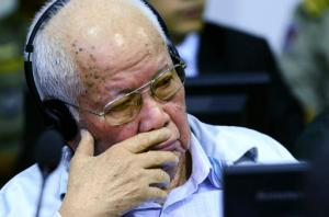 """In this photo released by the Extraordinary Chambers in the Courts of Cambodia, former Khmer Rouge senior member Khieu Samphan listens to the verdict which upheld his life sentence and that of colleague Nuon Chea in Cambodia's top court, Phnom Penh, Cambodia, Wednesday, Nov. 23, 2016. The Supreme Court Chamber said the 2014 verdict by a U.N. assisted Khmer Rouge tribunal was """"appropriate"""" given the gravity of the crimes and roles of the two defendants, Samphan, the 85-year-old Khmer Rouge head of state, and Chea, the 90-year-old right-hand man to the communist group's late leader Pol Pot. (Nhet Sok Heng/Extraordinary Chambers in the Courts of Cambodia via AP)"""