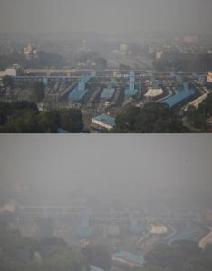 In this combination of two photos, the New Delhi skyline is seen enveloped in smog over a railway station on Friday, Oct. 28, 2016, top, and a day after Diwali festival on Monday, Oct. 31, 2016, bottom. As Indians wake Monday to smoke-filled skies from a weekend of festival fireworks for the Hindu holiday of Diwali, New Delhi's worst season for air pollution begins, with dire consequences. A new report from UNICEF says about a third of the 2 billion children in the world who are breathing toxic air live in northern India and neighboring countries, risking serious health effects including damage to their lungs, brains and other organs. (AP Photo/Altaf Qadri, top, and Tsering Topgyal, bottom)