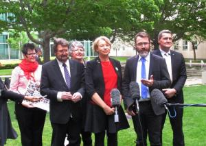 From left to right; gay rights advocate Felicity Marlowe, left, Sen. Derryn Hinch, rights advocate Shelley Argent, Sen. Janet Rice and advocates Ivan Hinton-Teoh and Rodney Croome address the media at Parliament House in Canberra, Australia, on Tuesday, Nov. 8, 2016. Gay rights advocates welcomed Australia's Senate voting down a government plan to hold a nonbinding public vote on recognizing gay marriage and called on Parliament to legislate for marriage equality soon. (AP Photo/Rod McGuirk)