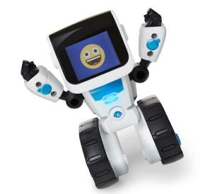 This photo provided by WowWee shows Coji, a mini robot that teaches pre-readers to code with emojis. It also reacts when you tilt or shake it, and you can control it with your phone or tablet. Whether you're looking for something educational, or a toy that's just for fun, there are a lot of choices for the holidays. (Samuel Pasquier/Ariane Carrier-Cliche/Courtesy of WowWee via AP)