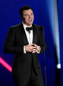 "FILE - In this Oct. 30, 2015 file photo, Seth MacFarlane addresses the audience at the BAFTA Los Angeles Britannia Awards in Beverly Hills, Calif. After the 2016 election results, MacFarlane commented on Twitter, ""At least pot's legal."" reacting to voters legalizing recreational marijuana use in California, Massachusetts and Nevada. (Photo by Chris Pizzello/Invision/AP, File)"